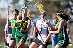 Santa Barbara, CA 02/13/10 - Bryn Levitan (Oregon #77), Mary Walsh (Oregon #16) and Grace Jackson (Texas #7) in action during the Texas-Oregon game at the 2010 Santa Barbara Shoutout, Texas defeated Oregon 11-9.