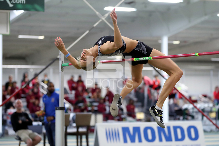 """WINSTON-SALEM, NC - FEBRUARY 07: Erika Kinsey wins the Women's High Jump with a jump of 1.92 meters (6'3.5"""") at JDL Fast Track on February 07, 2020 in Winston-Salem, North Carolina."""