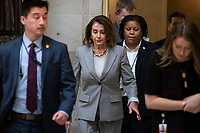 Speaker of the House Nancy Pelosi, Democrat of California, walks to a press event in the Rayburn Room of the U.S. Capitol in Washington, D.C. on March 12, 2019. <br /> CAP/MPI/RS<br /> &copy;RS/MPI/Capital Pictures