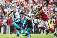 Landover, MD - October 14, 2018: Carolina Panthers quarterback Cam Newton (1) scrambles during the  game between Carolina Panthers and Washington Redskins at FedEx Field in Landover, MD.   (Photo by Elliott Brown/Media Images International)