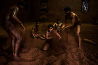 Kushti wrestlers train at Gangavesh Talim on the 17th of September, 2017 in Kolhapur, India.  <br /> Photo Daniel Berehulak for Lumix
