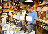 15 June 2017 - Prince Harry meets stallholder Ratan Mandal in his Tea shop during a visit to Borough Market in London which has opened yesterday for the first time since the London Bridge terrorist attack. Photo Credit: ALPR/AdMedia