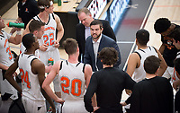 Brian Newhall, head men's basketball coach, Mike Wells, volunteer assistant coach<br /> The Occidental College men's basketball team plays against Chapman College in Rush Gym on Feb. 14, 2018.<br /> (Photo by Marc Campos, Occidental College Photographer)