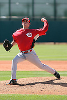 Mace Thurman #72 of the Cincinnati Reds plays in a minor league spring training game against the Cleveland Indians at the Indians complex on March 26, 2011 in Goodyear, Arizona. .Photo by:  Bill Mitchell/Four Seam Images.
