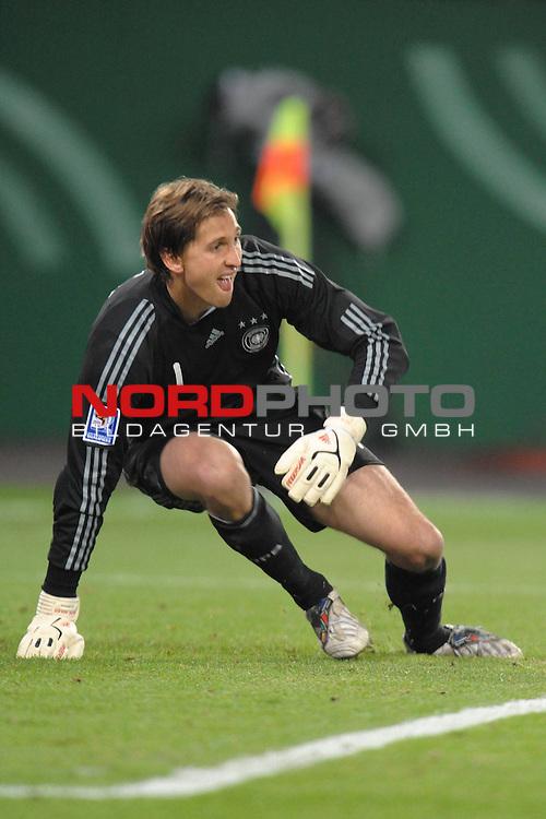 Fussball, L&auml;nderspiel, WM 2010 Qualifikation Gruppe 4  14. Spieltag<br />  Deutschland (GER) vs. Finnland ( FIN ) 1:1 ( 0:1 )<br /> <br /> Rene Adler ( GER / Bayer 04 Leverkusen #01 ) <br /> <br /> Foto &copy; nph (  nordphoto  )