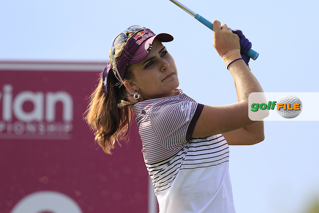 Lexi Thompson (USA) tees off the par3 16th tee during Friday's Round 2 of the LPGA 2015 Evian Championship, held at the Evian Resort Golf Club, Evian les Bains, France. 11th September 2015.<br /> Picture Eoin Clarke | Golffile