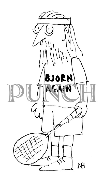 (A tennis player with long hair and a beard wears a slogan t-shirt reading: 'Bjorn Again')