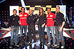 Ferrari F1 drivers Pedro de la Rosa (2L) and Marc Gene (2R) TV presenters Nira Juanco (3R) and Antonio Lobato (3L) during the F1 World Championship 2014-15 season in A3 TV channel in A3media building in Madrid, Spain. March 6, 2014. (ALTERPHOTOS/Victor Blanco)