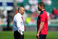 England Rugby Head Coach Eddie Jones speaks to captain Dylan Hartley during the pre-match warm-up. Old Mutual Wealth Cup International match between England and Wales on May 29, 2016 at Twickenham Stadium in London, England. Photo by: Patrick Khachfe / Onside Images