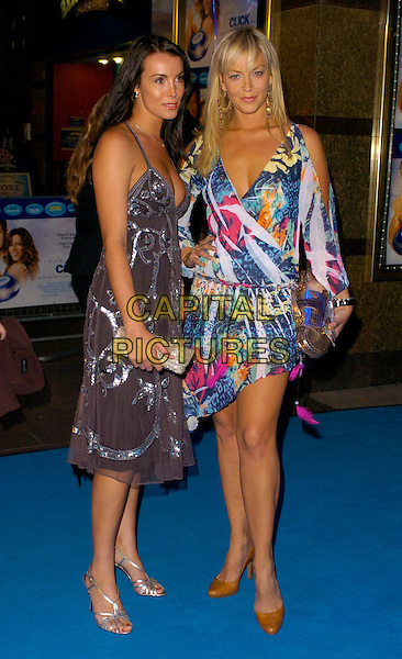 "JANINE NEWBERRY & LIZ FULLER .""Click"" UK film premiere, London, UK..September 27th, 2006.Ref: CAN.full length grey gray silver dress blue pattern clutch purse.www.capitalpictures.com.sales@capitalpictures.com.©Can Nguyen/Capital Pictures"