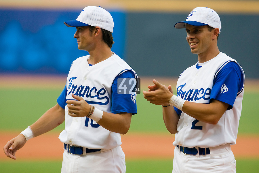 20 August 2007: Florian Peyrichou (left) and Sebastien Herve during the players introduction prior to the Czech Republic 6-1 victory over France in the Good Luck Beijing International baseball tournament (olympic test event) at the Wukesong Baseball Field in Beijing, China.