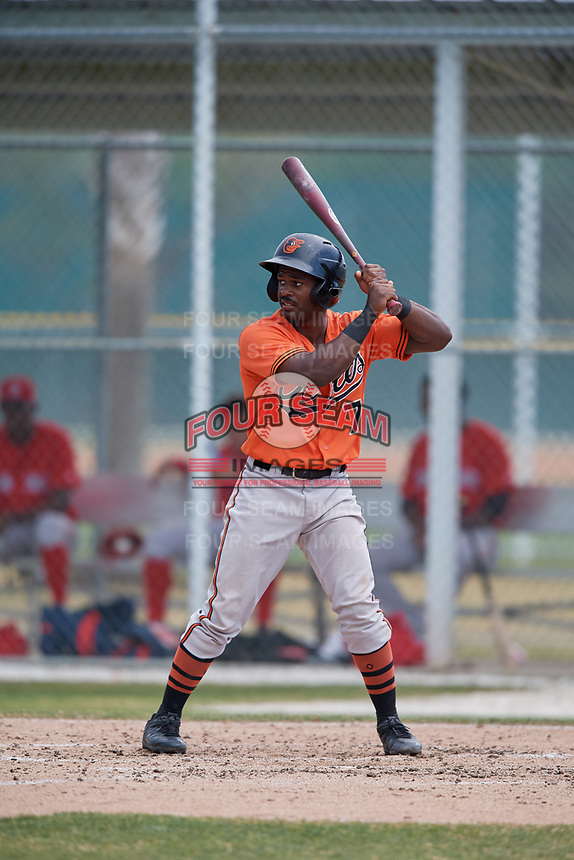 Baltimore Orioles Kirvin Moesquit (74) during a Minor League Spring Training game against the Boston Red Sox on March 20, 2018 at Buck O'Neil Complex in Sarasota, Florida.  (Mike Janes/Four Seam Images)