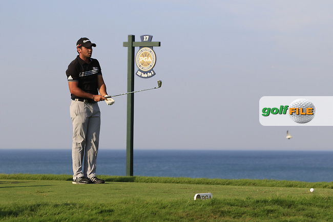 Jason DAY (AUS) prepares to tee off the par3 17th tee during Sunday's Final Round of the 97th US PGA Championship 2015 held at Whistling Straits, Mosel, Kohler, Wisconsin, United States of America. 16/08/2015.<br /> Picture Eoin Clarke, www.golffile.ie