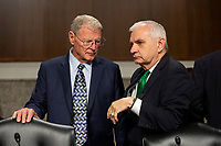 United States Senator Jim Inhofe (Republican of Oklahoma) and United States Senator Jack Reed (Democrat of Rhode Island) arrive to the confirmation hearing of Air Force General John Hyten, who is nominated to become Vice Chairman Of The Joint Chiefs Of Staff, on Capitol Hill in Washington D.C., U.S. on July 30, 2019. Credit: Stefani Reynolds/CNP/AdMedia