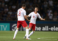 Football: Uefa under 21 Championship 2019, Italy -Poland, Renato Dall'Ara stadium Bologna Italy on June19, 2019.<br /> Poland's Sebastian Szymanski (r) and Kamil Pestka (l) celebrate after winning 1-0 the Uefa under 21 Championship 2019 football match between Italy and Poland at Renato Dall'Ara stadium in Bologna, Italy on June19, 2019.<br /> UPDATE IMAGES PRESS/Isabella Bonotto