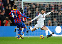 Crystal Palace's Jairo Riedewald vies for possession with Burnley's Phillip Bardsley<br /> <br /> Photographer Ashley Crowden/CameraSport<br /> <br /> The Premier League - Crystal Palace v Burnley - Saturday 13th January 2018 - Selhurst Park - London<br /> <br /> World Copyright &copy; 2018 CameraSport. All rights reserved. 43 Linden Ave. Countesthorpe. Leicester. England. LE8 5PG - Tel: +44 (0) 116 277 4147 - admin@camerasport.com - www.camerasport.com