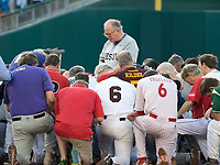 United States House Chaplain, Father Patrick J. Conroy, S.J. leads both teams in prayer prior to the 56th Annual Congressional Baseball Game for Charity where the Democrats play the Republicans in a friendly game of baseball at Nationals Park in Washington, DC on Thursday, June 15, 2017.<br /> Credit: Ron Sachs / CNP/MediaPunch (RESTRICTION: NO New York or New Jersey Newspapers or newspapers within a 75 mile radius of New York City)