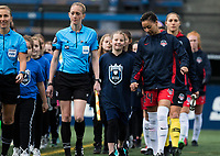 Seattle, WA - Saturday March 24, 2018: Estelle Johnson, walkout during a regular season National Women's Soccer League (NWSL) match between the Seattle Reign FC and the Washington Spirit at the UW Medicine Pitch at Memorial Stadium.