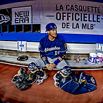 25 March 2019: Milwaukee Brewers catcher Yasmani Grandal sits in the dugout prior to an exhibition game against the Toronto Blue Jays at Olympic Stadium in Montreal, Quebec, Canada. The Brewers defeated the Blue Jays 10-5 in the first of two MLB pre-season games in the former home of the Montreal Expos. Mandatory Credit: Ed Wolfstein Photo *** RAW (NEF) Image File Available ***