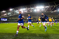The Bath Rugby team leave the field at the end of the pre-match warm-up. Heineken Champions Cup match, between Leinster Rugby and Bath Rugby on December 15, 2018 at the Aviva Stadium in Dublin, Republic of Ireland. Photo by: Patrick Khachfe / Onside Images