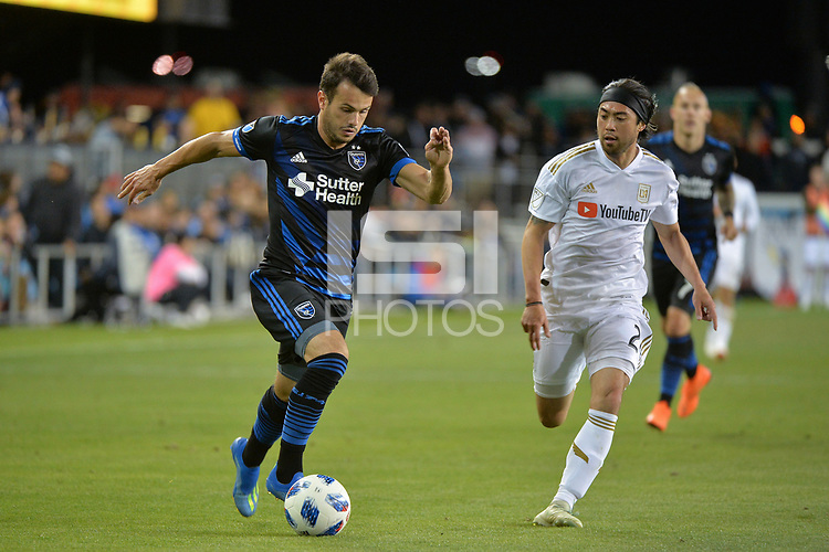 San Jose, CA - Saturday June 09, 2018: Vako, Lee Nguyen during a Major League Soccer (MLS) match between the San Jose Earthquakes and Los Angeles Football Club at Avaya Stadium.