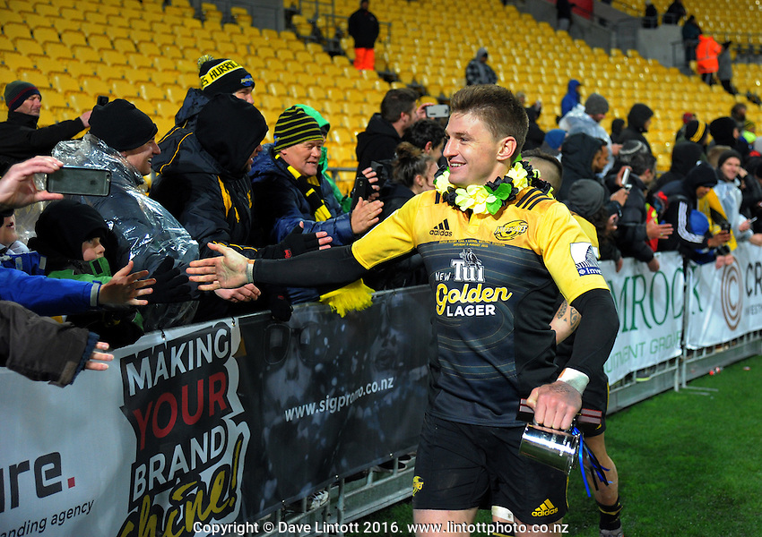 Beauden Barrett thanks fans after the Super Rugby final match between the Hurricanes and Lions at Westpac Stadium, Wellington, New Zealand on Saturday, 6 August 2016. Photo: Dave Lintott / lintottphoto.co.nz
