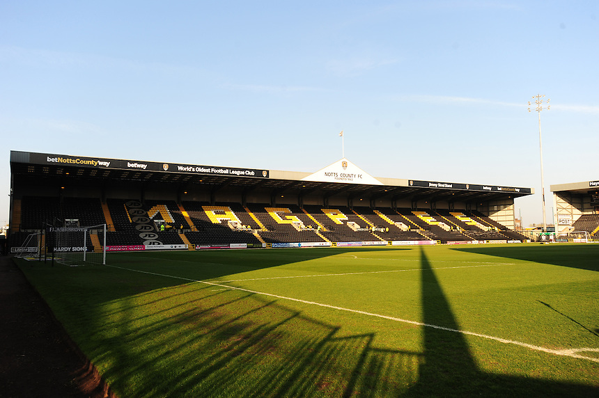 A general view of Meadow Lane, home of Notts County<br /> <br /> Photographer Andrew Vaughan/CameraSport<br /> <br /> Football - The Football League Sky Bet League One - Notts County v Preston North End - Tuesday 21st April 2015 - Meadow Lane - Nottingham<br /> <br /> &copy; CameraSport - 43 Linden Ave. Countesthorpe. Leicester. England. LE8 5PG - Tel: +44 (0) 116 277 4147 - admin@camerasport.com - www.camerasport.com