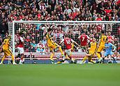 1st October 2017, Emirates Stadium, London, England; EPL Premier League Football, Arsenal versus Brighton; Nacho Monreal of Arsenal scores his sides first goal, 1-0 Arsenal