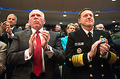 CIA Director John Brennan (L) and Director of the National Security Agency Mike Rogers applaud as President Barack Obama speaks at a ceremony marking the 10th anniversary of the formation for the Office of the Director of National Intelligence, at it's headquarters on April 24, 2015 in McLean, Virginia. <br /> Credit: Kevin Dietsch / Pool via CNP