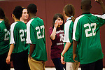 TORRINGTON, CT- 6 November 2014-110614EC02--    Caitlyn Critchley slaps hands with the opposing team Thursday night. Torrington High School hosted the Unified indoor soccer tournament. The unified teams combined Special Olympics athletes and high school varsity students. Erin Covey Republican-American