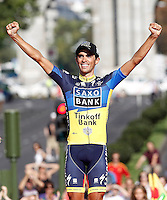 Alberto Contador celebrates the victory in the Overall Standing on Time of La Vuelta 2012.September 9,2012. (ALTERPHOTOS/Acero)