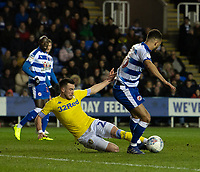 Reading's Lewis Baker (right) is tackled by Leeds United's Jack Harrison (left) <br /> <br /> Photographer David Horton/CameraSport<br /> <br /> The EFL Sky Bet Championship - Reading v Leeds United - Tuesday 12th March 2019 - Madejski Stadium - Reading<br /> <br /> World Copyright &copy; 2019 CameraSport. All rights reserved. 43 Linden Ave. Countesthorpe. Leicester. England. LE8 5PG - Tel: +44 (0) 116 277 4147 - admin@camerasport.com - www.camerasport.com