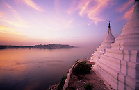 A stupa in Sagig a long the the Irrawaddy River or Ayeyarwady River a river that flows from north to south through Burma (Myanmar). It is the country's largest river and most important river.