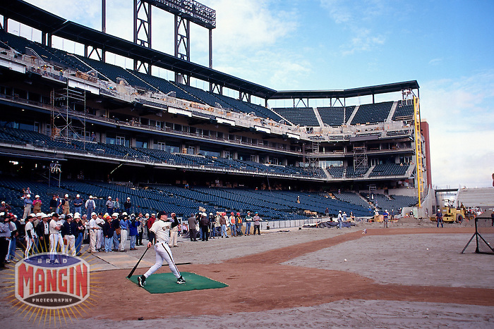 SAN FRANCISCO, CA - General stadium overall view of the new San Francisco Giants stadium Pacific Bell Park as the first batting practice is held with J.T. Snow hitting in San Francisco, California in January of 2000. Photo by Brad Mangin
