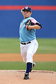 May 3, 2009:  Starting Pitcher Dylan Owen of the Binghamton Mets, Eastern League Class-AA affiliate of the New York Mets, delivers a pitch during a game at the NYSEG Stadium in Binghamton, NY.  The Mets wore special blue and pink jerseys that were auctioned off after the game to benefit breast and prostate cancer.  Photo by:  Mike Janes/Four Seam Images