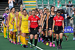 The Hague, Netherlands, June 09: Umpires and players of both teams walk in before the field hockey group match (Women - Group A) between England and Argentina on June 9, 2014 during the World Cup 2014 at Kyocera Stadium in The Hague, Netherlands. Final score 0-0 (0-0)  (Photo by Dirk Markgraf / www.265-images.com) *** Local caption ***