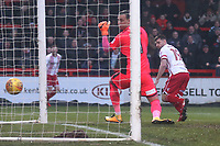 Danny Newton of Stevenage scores the equalising goal during Stevenage vs Luton Town, Sky Bet EFL League 2 Football at the Lamex Stadium on 10th February 2018
