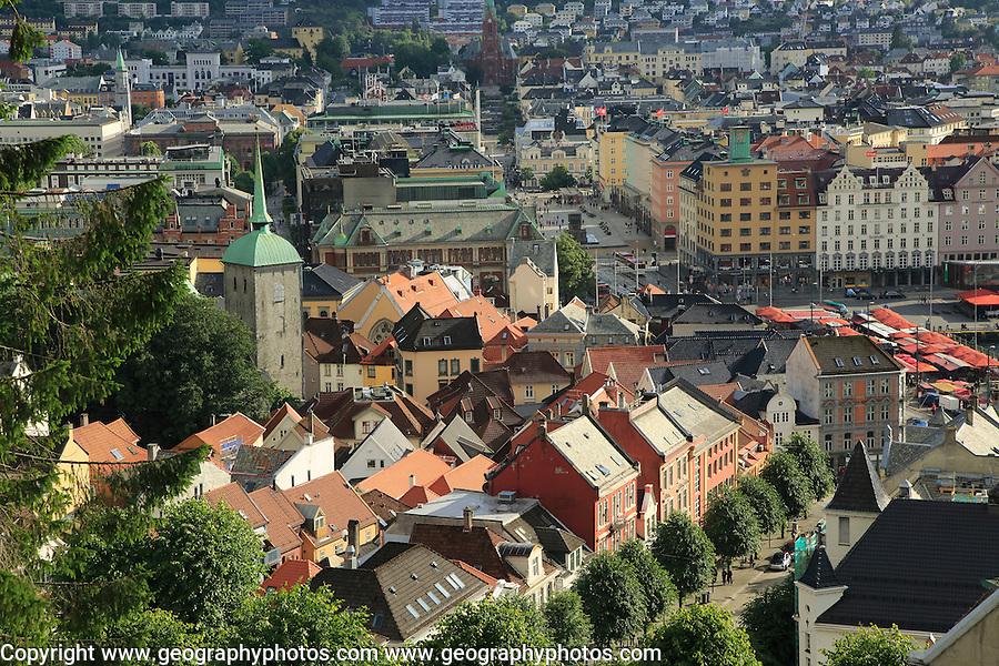 View over rooftops of city centre buildings in Bergen, Norway