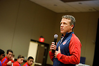 Bradenton, FL : John Hackworth speaks to US Soccer colleagues before a presentation in Bradenton, Fla., on January 4, 2018. (Photo by Casey Brooke Lawson)