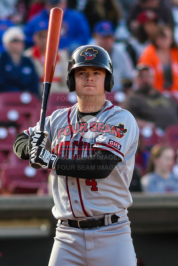 Quad Cities River Bandits catcher Jake Rogers (4) waits to hit during a Midwest League game against the Wisconsin Timber Rattlers on April 8, 2017 at Fox Cities Stadium in Appleton, Wisconsin.  Wisconsin defeated Quad Cities 3-2. (Brad Krause/Four Seam Images)