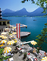 Austria, Upper Austria, Salzkammergut, St. Wolfgang at Lake Wolfgang: hotel with lakeside terrace