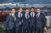 "The Hague, The Netherlands, September 13, 2017,  Sportcampus , Davis Cup Netherlands - Chech Republic, Official Dinner, Dutch team in front of ""The Pier"" in Scheveningen, Ltr: Matwe Middelkoop, Thiemo de Bakker, Tallon Griekspoor, Robin Haase and Captain Paul Haarhuis.<br /> Photo: Tennisimages/Henk Koster"