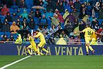 Villarreal Pablo Fornals, Enes Unal and Rodrigo Hernandez celebrating a goal during La Liga match between Real Madrid and Villarreal CF at Santiago Bernabeu in Madrid, Spain. January 13, 2018. (ALTERPHOTOS/Borja B.Hojas)