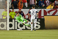 CARSON, CA – APRIL 30, 2011: New England Revolution goalie Bobby Shuttleworth (34) makes a save during the match between Chivas USA and New England Revolution at the Home Depot Center, April 30, 2011 in Carson, California. Final score Chivas USA 3, New England Revolution 0.