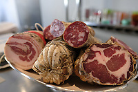 A plate of cured meats on the counter at Franceschetta 58, Modena. Franceschetta 58 is the second restaurant of Massimo Bottura, whose restaurant Osteria Francescana is the No 1 ranked restaurant in the 2016 The World's 50 Best Restaurants, and is rated with three stars by the Michelin Guide. Photo Sydney Low