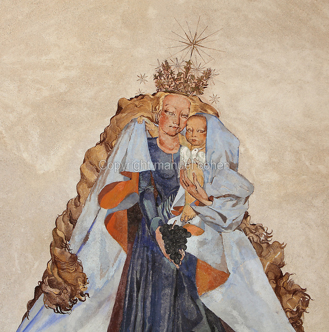 Virgin of Mercy or Madonna of Mercy, 1942, by Sylvaine COLLIN (1902 - 1970), Eglise paroissiale St Fiacre, Touillon, Cote d'Or, France. Picture by Manuel Cohen