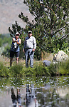 Breast cancer survivor Susan Powell, from San Francisco, fly-fishes with guide Kim Epstein, of Minden, during a Casting for Recovery retreat in Gardnerville, Nev., on Friday, June 30, 2017. The nationwide program, hosted locally with Carson Tahoe Cancer Center, pairs cancer survivors with fly-fishing guides.   <br />