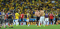 FORTALEZA - BRASIL -04-07-2014. James Rodriguez (#10) jugador de Colombia (COL) intercambia camiseta con David Luiz (#4) jugador Brasil (BRA) al final del partido de los cuartos de final por la Copa Mundial de la FIFA Brasil 2014 jugado en el estadio Castelao de Fortaleza./ James Rodriguez (#10) player of Colombia (COL) exchange shirt with David Luiz (#4) player of Brazil (BRA) after the match of the Quarter Finals for the 2014 FIFA World Cup Brazil played at Castelao stadium in Fortaleza: Photo: VizzorImage / Alfredo Gutiérrez / Contribuidor