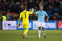 Manchester City's Vincent Kompany shakes hands with Basel's Tomas Vaclik at full time <br /> <br /> Photographer Craig Mercer/CameraSport<br /> <br /> UEFA Champions League Round of 16 First Leg - Basel v Manchester City - Tuesday 13th February 2018 - St Jakob-Park - Basel<br />  <br /> World Copyright &copy; 2018 CameraSport. All rights reserved. 43 Linden Ave. Countesthorpe. Leicester. England. LE8 5PG - Tel: +44 (0) 116 277 4147 - admin@camerasport.com - www.camerasport.com