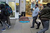 Sleeping place and belongings of homeless rough sleeper, Oxford Street, London